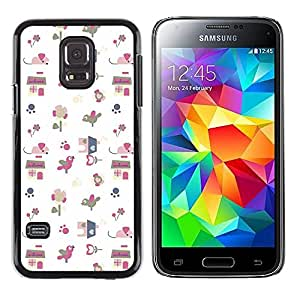 LECELL--Funda protectora / Cubierta / Piel For Samsung Galaxy S5 Mini, SM-G800, NOT S5 REGULAR! -- Gift Paper White Pattern Cute Drawing --