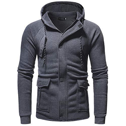(iLXHD Men's Long Sleeve Autumn Winter Casual Long Sleeve Zipper Pocket Work Hooded Top Coat Dark Gray)