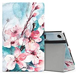 MoKo Case for All-New Amazon Fire HD 8 Tablet (7th Generation, 2017 Release Only) - Slim Folding Stand Cover for Fire HD 8, Peach Blossom (with Auto Wake / Sleep)