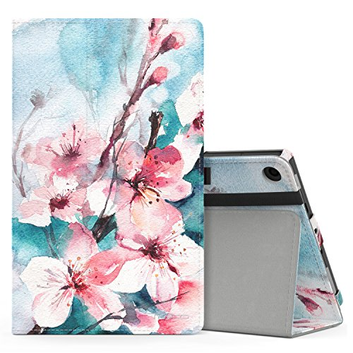 MoKo Case for All-New Amazon Fire HD 8 Tablet (7th/8th Generation, 2017/2018 Release) - Slim Folding Stand Cover for Fire HD 8, Peach Blossom (with Auto Wake/Sleep)