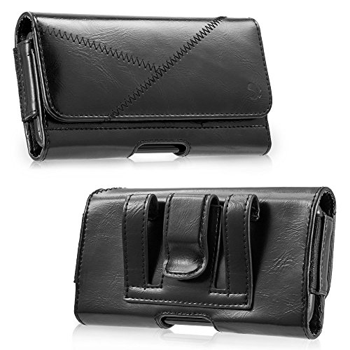 LUXMO Horizontal Leather Case Fits iPhone 7 Plus 6 Plus, Premium Leather Carrying Cover Holster Pouch Belt Clip Case with Card Slots Compatible with iPhone 8 Plus 6s Plus Galaxy S8 (Black) ()