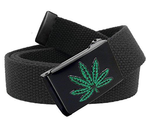 Embossed Black Weed Leaf Flip Top Belt Buckle with Canvas Web Belt Medium Black