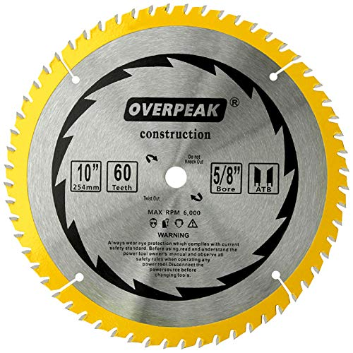Arbor 60 5/8 Teeth (OVERPEAK Precision Finishing ATB 10-Inch Saw Blades Crosscutting 60 Tooth Miter Saw Blades 5/8-Inch Arbor)