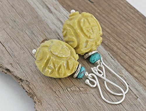 Hill Tribe Silver Dangle - Carved Yellow Turquoise Hill Tribe Sterling Silver Large Dangle Earrings Handcrafted Artisan Jewelry