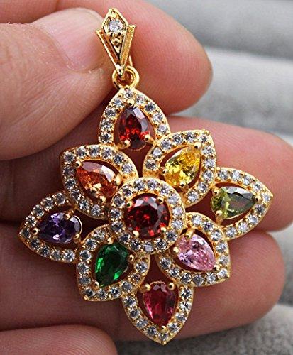 Phonphisai shop 18K Yellow Gold Filled - Hollow Waterdrop Flower Topaz Amethyst Emerald Pendant