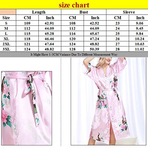 Zhhlinyuan Womens Lingerie nightwear Night gown Nightie Silk Robe Bathrobe wp200 Pink