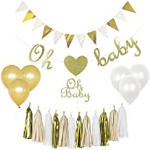 Baby Shower Decorations Gender Neutral Kit Set, Boy Or Girl, Unisex, Gender Reveal Party Supplies, Oh Baby Cake Topper, Oh Baby Banner, Gold Glittery Font,Tassels, Pregnancy Announcement