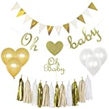 Baby : Gender Reveal Party Supplies,Baby Shower Decorations Boy or Girl,Oh Baby Cake Topper,Oh Baby Banner, Gold Glittery letters ,triangle banner,Tassels,1st Birthday Decorations,pregnancy announcement