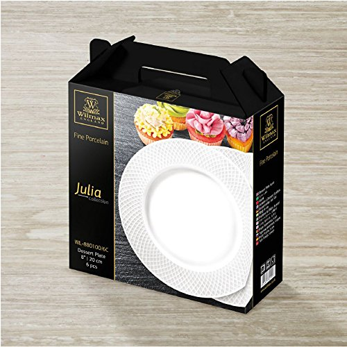 """Wilmax WL-880100, 8"""" Julia Collection White Porcelain Round Dessert Plate, Classic European Bone China Appetizer Dinner Serving Plates, Gift Box Set of 6"""