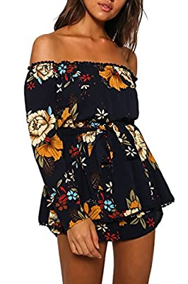 Relipop Women's Summer Floral Off shoulder Long Sleeves Romper Jumpsuit