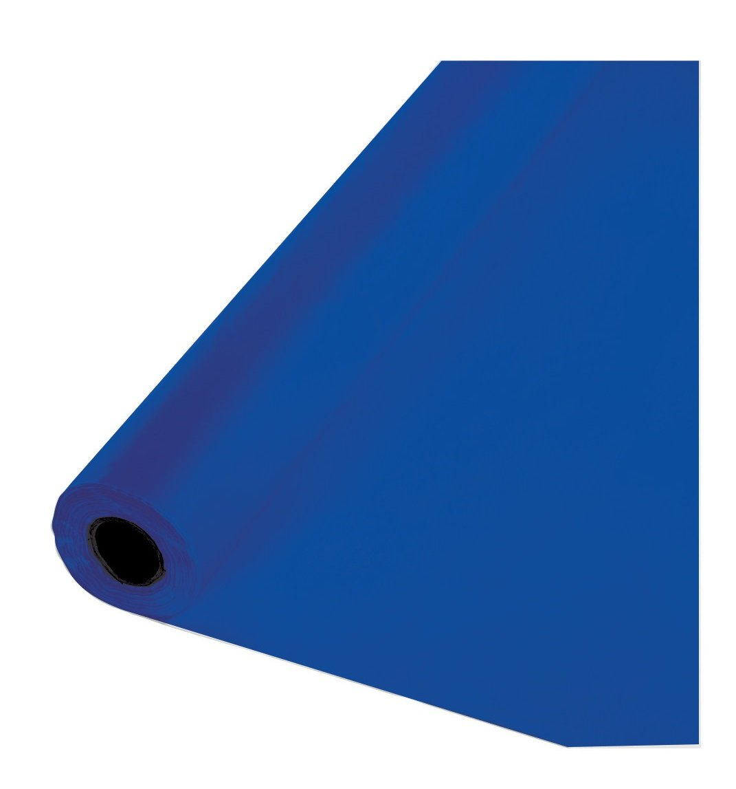 Creative Converting 319026 Plastic Table Cover Banquet Roll, 100', Cobalt