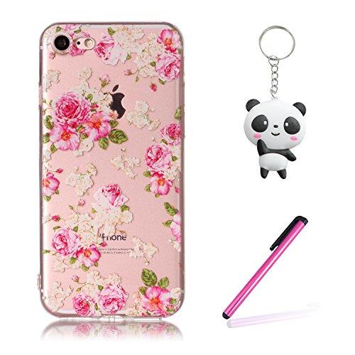 iPhone 8 Hülle Schöne Blume Premium Handy Tasche Schutz Transparent Schale Für Apple iPhone 8 + Zwei Geschenk