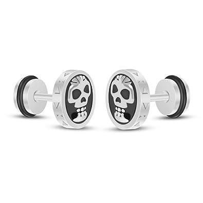 6e8e38bf1 Amazon.com: YC_jewelry Stainless Steel Skull Screw Back Stud Earrings for  Men Women Unisex (Silver): Jewelry