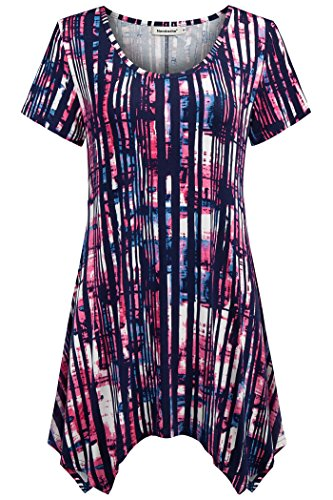 Nandashe Women Summer Tunic, Teenage Ladies 2018 Fashion Classic African Print Elastic Waist Dressy Flare Bicycle Shirt for Workout Dark Navy Rosered Large