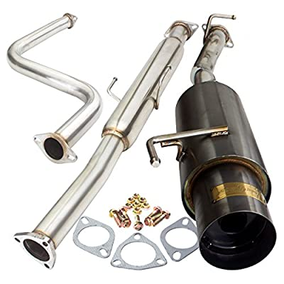"2.25"" Jdm Gunmetal Catback Exhaust System Stainless Steel with 4"" Tip For Honda Prelude: Automotive"