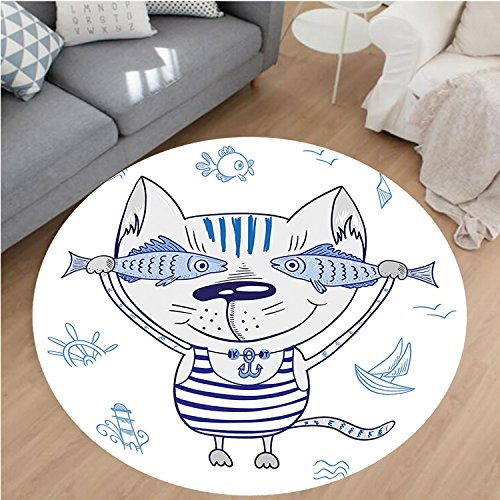 Nalahome Modern Flannel Microfiber Non-Slip Machine Washable Round Area Rug-Decor Naughty Cat with Fish in Striped T-shirt Anchor Pendant and Nautical Sign Blue Grey area rugs Home Decor-Round (Cobblestone Two Light Pendant)