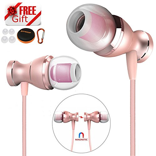 EYEKOP E2 Headphones Earphones, in-Ear Wired Earbuds Magnetic Metal Stereo Earphones for Running with Mic (Rose Gold)