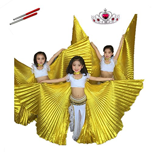Belly Dance ISIS Wings For Kids Child Girl, White Dance Costumes Birthday Party, Cosplay With Sticks Frozen Crown Carnival Halloween Cloak (Golden Plus Size) (Belly Dancing Costume For Kids)