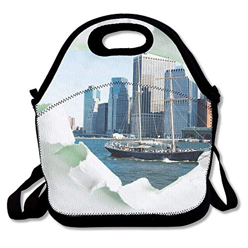 Cvhtr3m York City Through Hole in Paper Cute Portable Funny Lunchbox Lunch Tote Lunch Bag