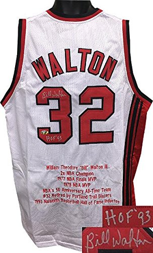 (Bill Walton Signed Jersey - White TB Custom Stitched HOF 93 w Embroidered Stats XL - Autographed NBA Jerseys)