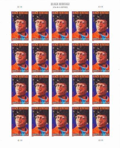USPS Shirley Chisholm Black Heritage Sheet of 20 x Forever US Postage Stamps - Black Postage