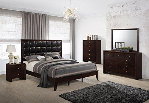 (Roundhill Furniture B351PQDMNC Wood Bed Room Set, Queen Bed, Dresser, Mirror, Night Stand, Chest)