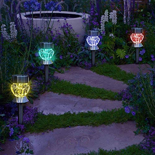 NEW LED Solar Powered Outdoor Garden Path Stake Lanterns Lamps Diamonds Shape
