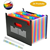 24 Pockets Expanding Files Folder,Expandable File Organizer,Portable Large Plastic Rainbow A4 Accordion File Folders Wallets Stand Bag with Colored Labels for Office/Business Document/School/Legal