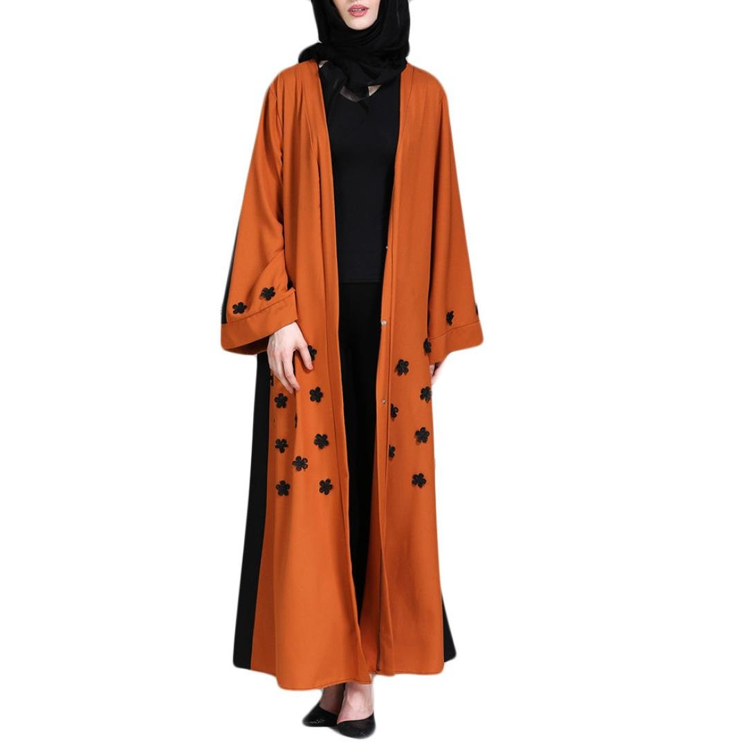 Rucan Women Muslim Kimono Islamic Nailed Flower Long Coat Middle East Long Robe (Brown, Medium) by Rucan