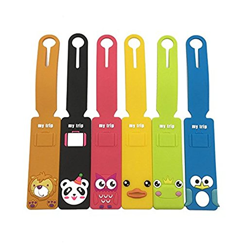 Set of 6 Cute Animals Luggage Tags Colorful Silicone Travel Suitcase Bag (Frog Personalized Address Labels)
