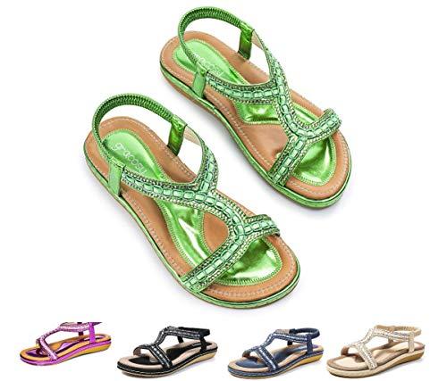 gracosy Flat Sandals for Women, Summer Flat Wedding Rhinestone Beaded Flip Flops Bohemian Thong Slip on Green 8.5 M US
