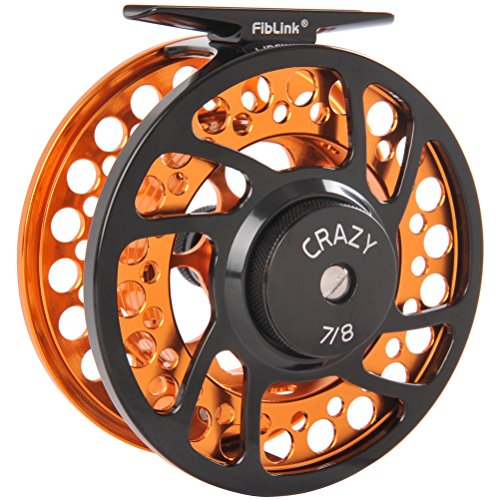 Fiblink Saltwater Fly Fishing Reels with Large Arbor 2+1 BB, CNC machined Aluminum Alloy Body and Reel Spool (9/10 Wt, Orange)