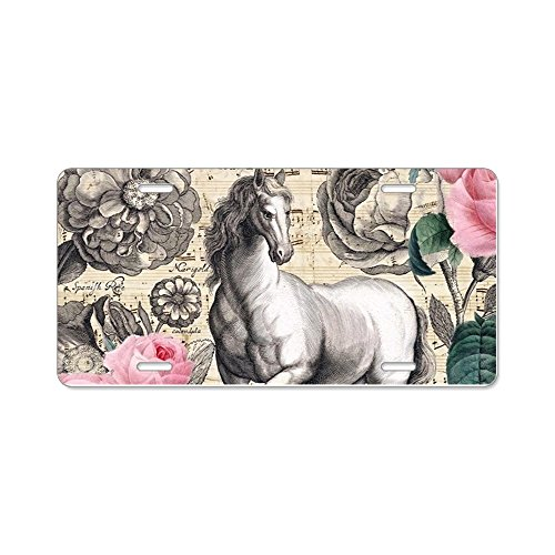 CafePress - Vintage Equine Collage - Aluminum License Plate, Front License Plate, Vanity (Old Antique Etching)