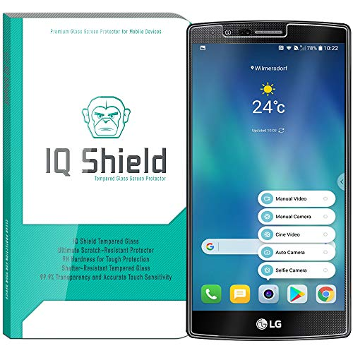 IQ Shield Tempered Ballistic Glass Screen Protector for LG G4 99.9% Transparent HD and Anti-Bubble Shield ()