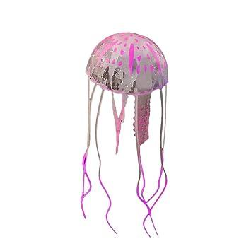 Bobury Efecto Brillante Acuario de Pescado de Medusas Artificiales Decoración de Acuario Mini Ornamento Submarino