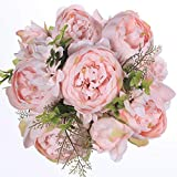 Luyue Vintage Artificial Peony Silk Flowers Bouquet Home Wedding Decoration (Spring Peach Pink)