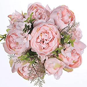 Luyue Vintage Artificial Peony Silk Flowers Bouquet Home Wedding Decoration (Spring Peach Pink) 84