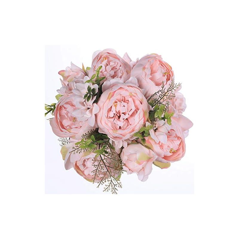 silk flower arrangements luyue vintage artificial peony silk flowers bouquet home wedding decoration (spring peach pink)
