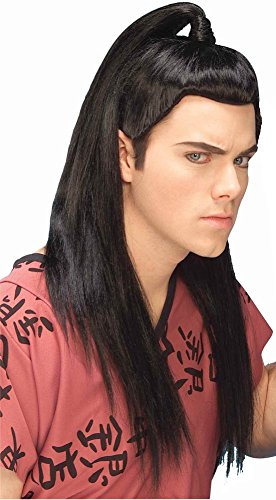 [Forum Novelties Men's Adult Asian Warrior Costume Wig, Black, One Size] (Ninja Costume Man)