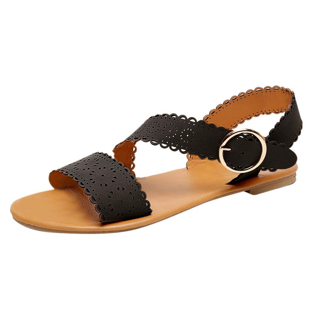 Veodhekai Women Flats Sandals Hollow Out Flower Buckle Sandals Beach Roman Shoes Peep Toe Soft Bottom Flats Shoes Black