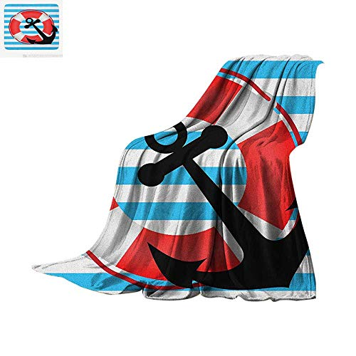 Luoiaax Anchor Warm Microfiber All Season Blanket Blue Striped Backdrop with Lifebuoy and Anchor Aboard Travel Protection Summer Quilt Comforter 60