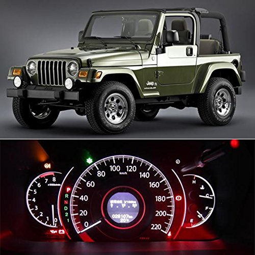 Partsam White TJ Jeep Wrangler LED Speedometer Indicator Package