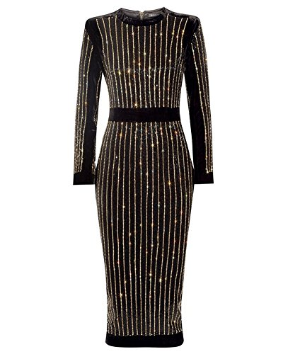 whoinshop Women's High Neck Long Sleeves Rhinestone Midi Evening Bandage Elegant Dress (S, Black)