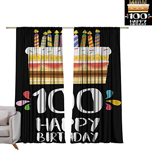 DUCKIL Customized Curtains 100th Birthday Old Legacy 100 Birthday Party Cake Candles on Black Major Milestone Backdrop Privacy Protection W108 xL84 ()