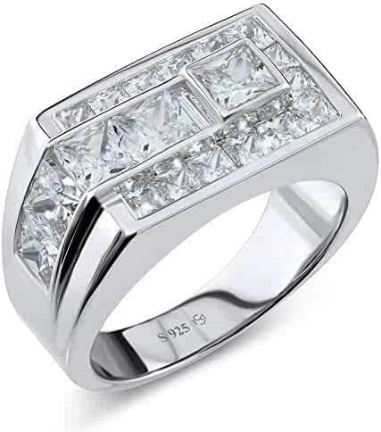 9f7d181e64 Sterling Manufacturers Men's Sterling Silver .925 Ring Featuring Channel Set  Square Cut Cubic Zirconia (