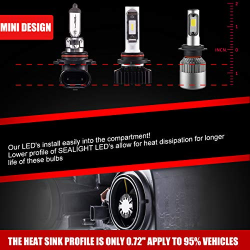 SEALIGHT 9005//HB3 High beam 9006//HB4 Low Beam LED Headlight Bulbs Combo Package CSP Chips 6000LM 6000K 4 Pack, 2 Sets