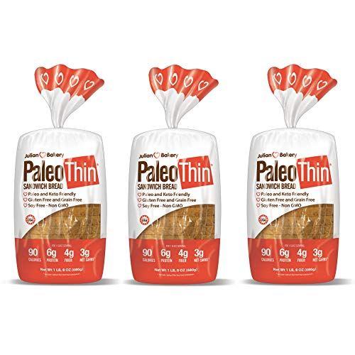 Paleo Thin Sandwich Bread (New) Gluten-Free Low Carb (3 Net Carbs) 6g Protein (16 Slices 1.5 Lbs) (3 ()