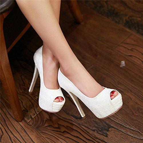Zapatos De Zapatos Vestir De Alta Alto Abertura Mujer Tacón Con De Bombas De Novia Tacón Punta Lentejuelas VIVIOO De Doradas Con Abierta Con Peep Plataforma white Alto Toe vq8HPSSw