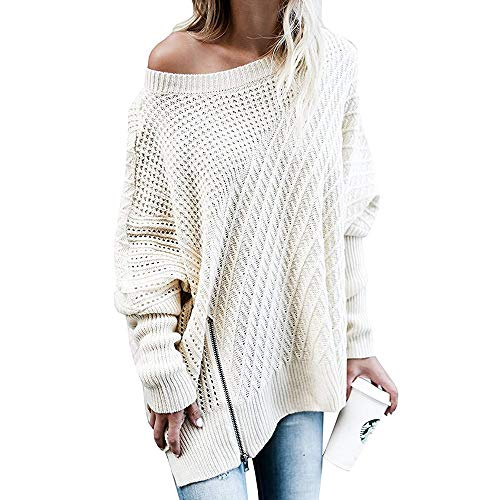 laamei Femme Sweater Pull Tops Manches Longues Jumper Pullover Tricots Chandail Fermeture