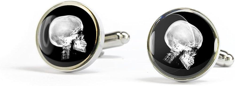 Cufflinks of X-ray skull resin dome silver cuff links 17mm brass plate rhodium